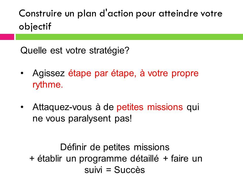 Construire un plan d action pour atteindre votre objectif