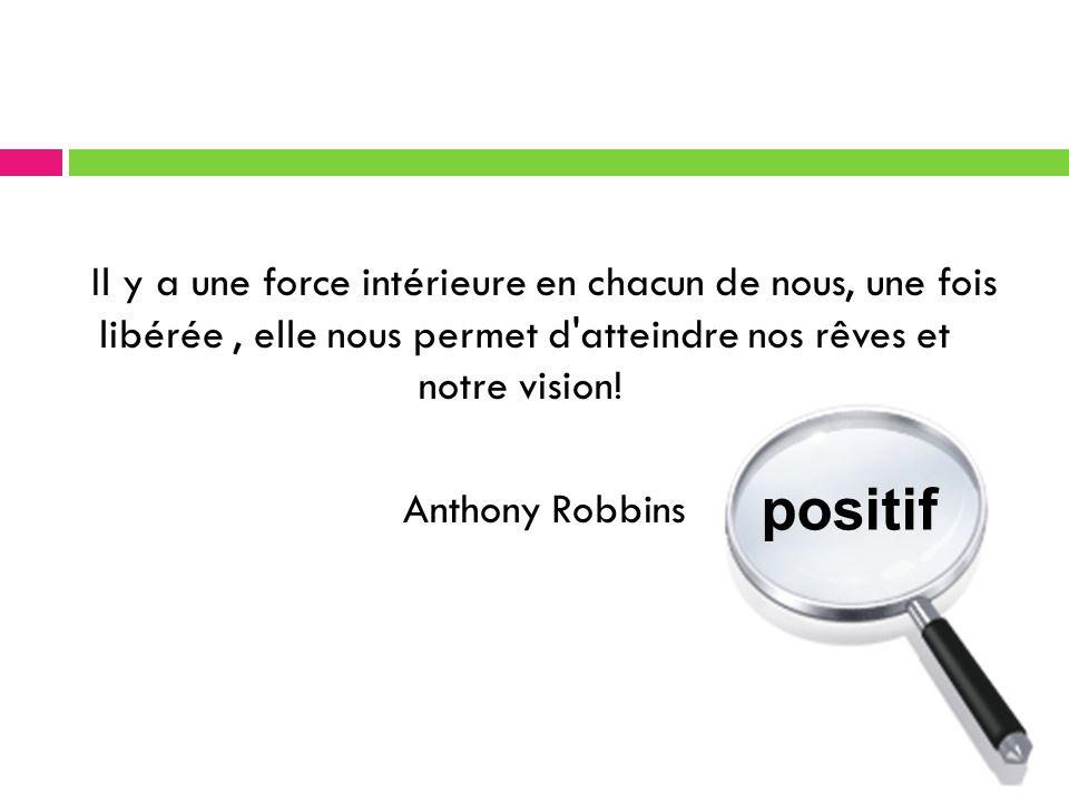 Il y a une force intérieure en chacun de nous, une fois libérée , elle nous permet d atteindre nos rêves et notre vision! Anthony Robbins