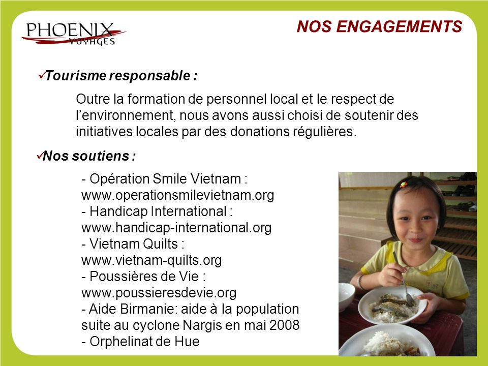 NOS ENGAGEMENTS Tourisme responsable :