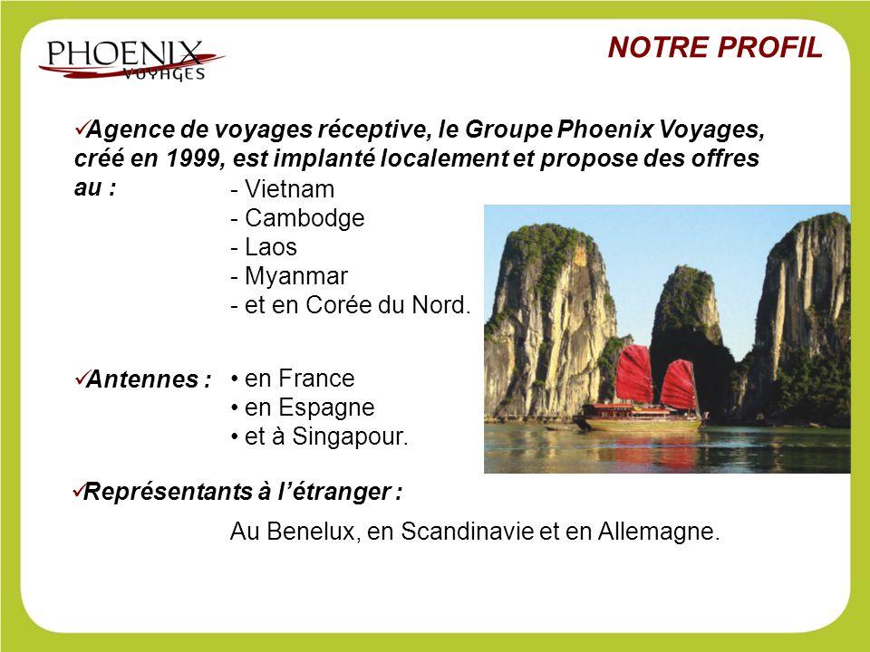 NOTRE PROFIL Agence de voyages réceptive, le Groupe Phoenix Voyages, créé en 1999, est implanté localement et propose des offres au :