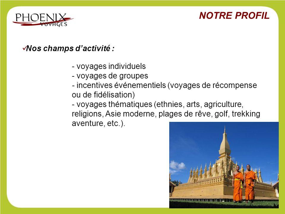 NOTRE PROFIL Nos champs d'activité : - voyages individuels