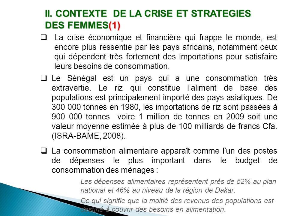 II. CONTEXTE DE LA CRISE ET STRATEGIES DES FEMMES(1)