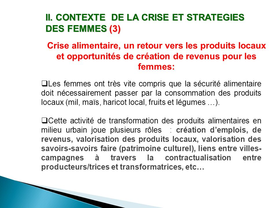 II. CONTEXTE DE LA CRISE ET STRATEGIES DES FEMMES (3)