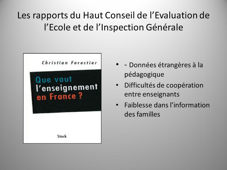 Les rapports du Haut Conseil de l'Evaluation de l'Ecole et de l'Inspection Générale