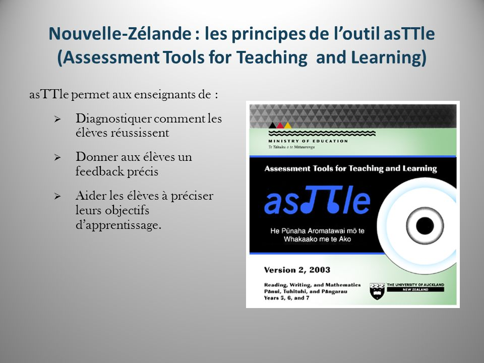 Nouvelle-Zélande : les principes de l'outil asTTle (Assessment Tools for Teaching and Learning)