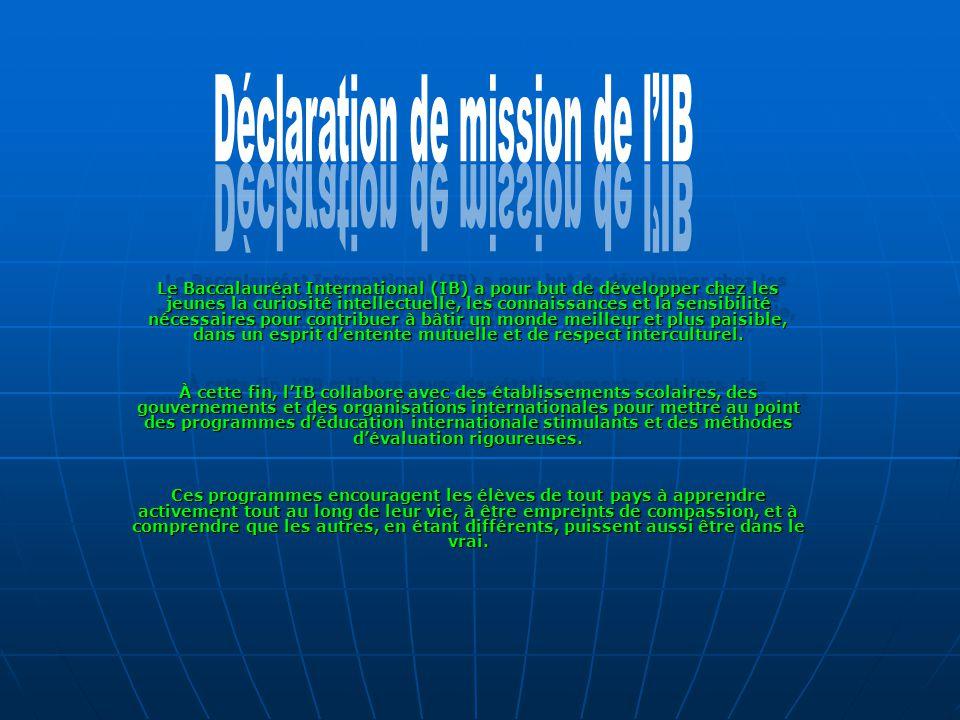 Déclaration de mission de l'IB