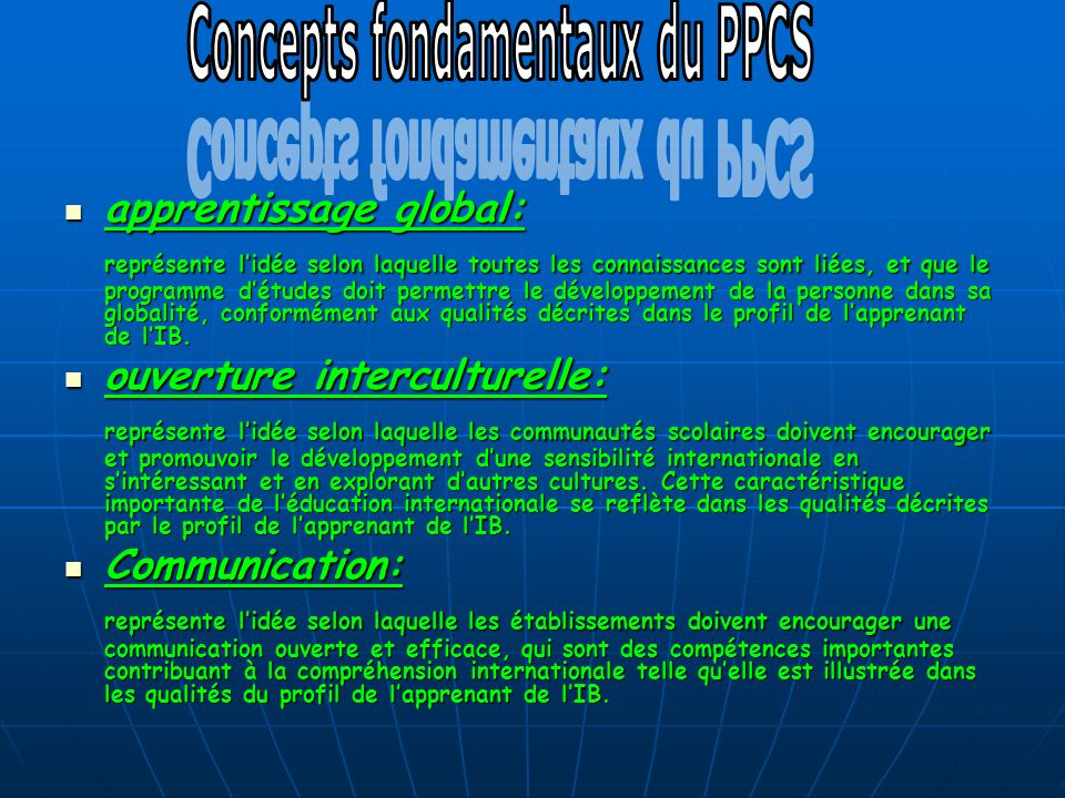 Concepts fondamentaux du PPCS