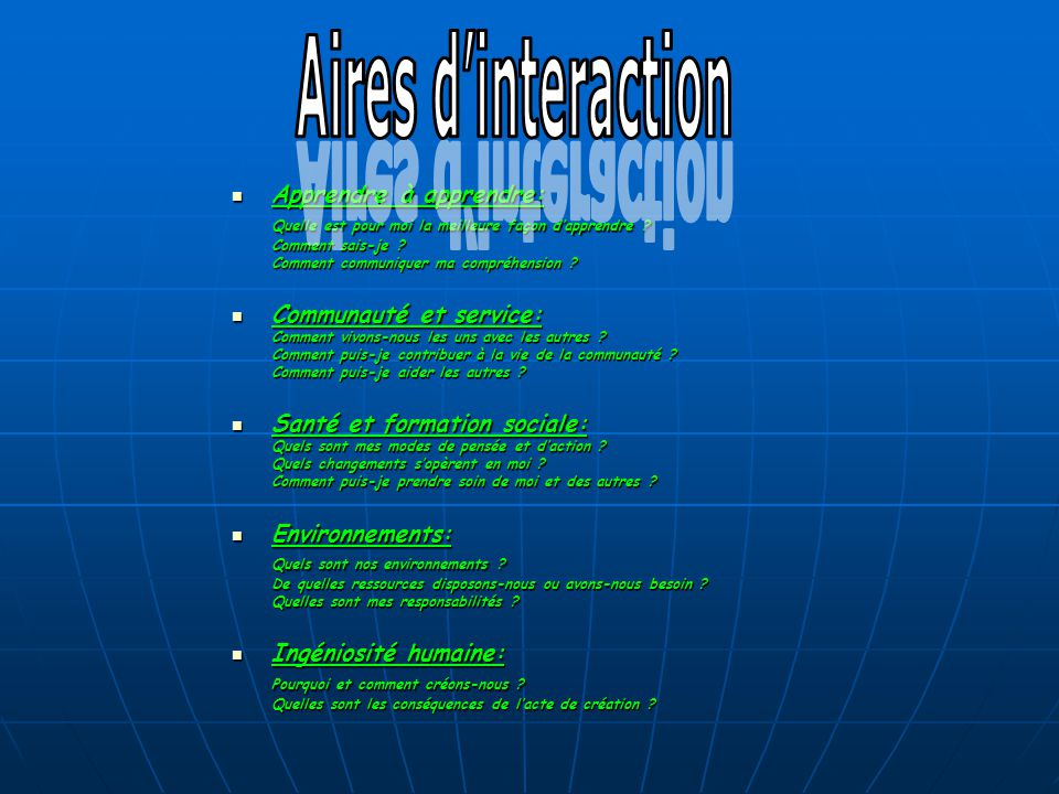 Aires d'interaction Apprendre à apprendre: