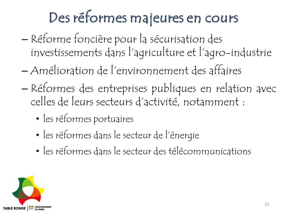 Des réformes majeures en cours