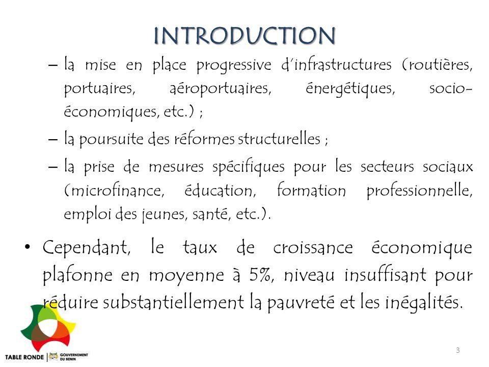 INTRODUCTION la mise en place progressive d'infrastructures (routières, portuaires, aéroportuaires, énergétiques, socio- économiques, etc.) ;
