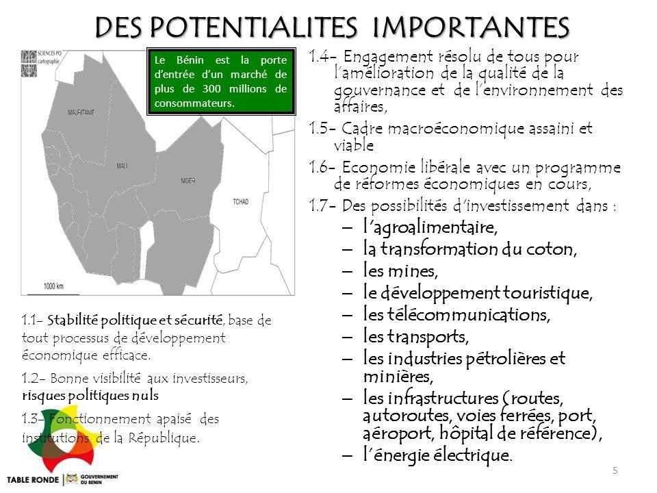 DES POTENTIALITES IMPORTANTES