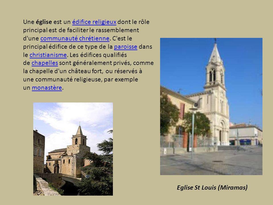 Une église est un édifice religieux dont le rôle principal est de faciliter le rassemblement d une communauté chrétienne. C est le principal édifice de ce type de la paroisse dans le christianisme. Les édifices qualifiés de chapelles sont généralement privés, comme la chapelle d un château fort, ou réservés à une communauté religieuse, par exemple un monastère.
