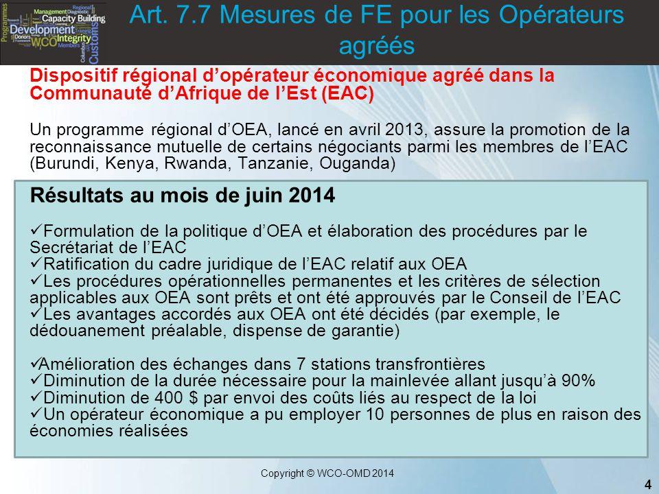 Art. 7.7 Mesures de FE pour les Opérateurs agréés