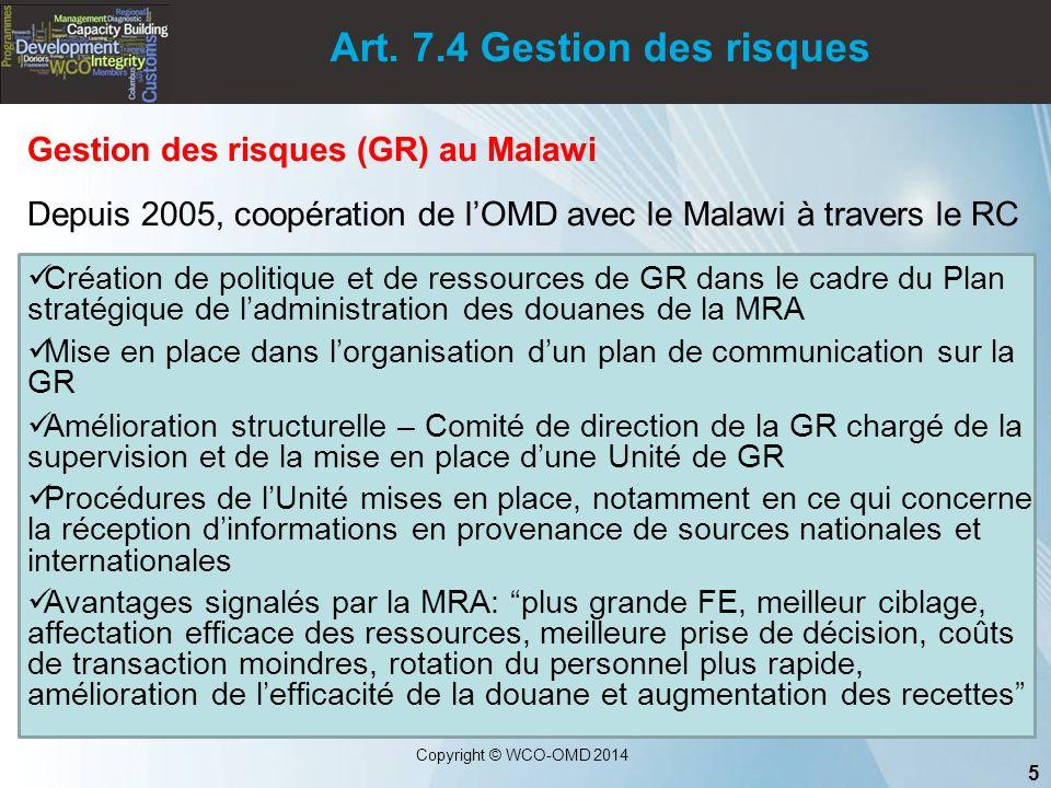 Art. 7.4 Gestion des risques