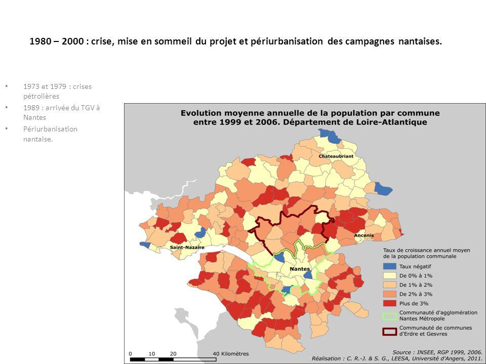 1980 – 2000 : crise, mise en sommeil du projet et périurbanisation des campagnes nantaises.