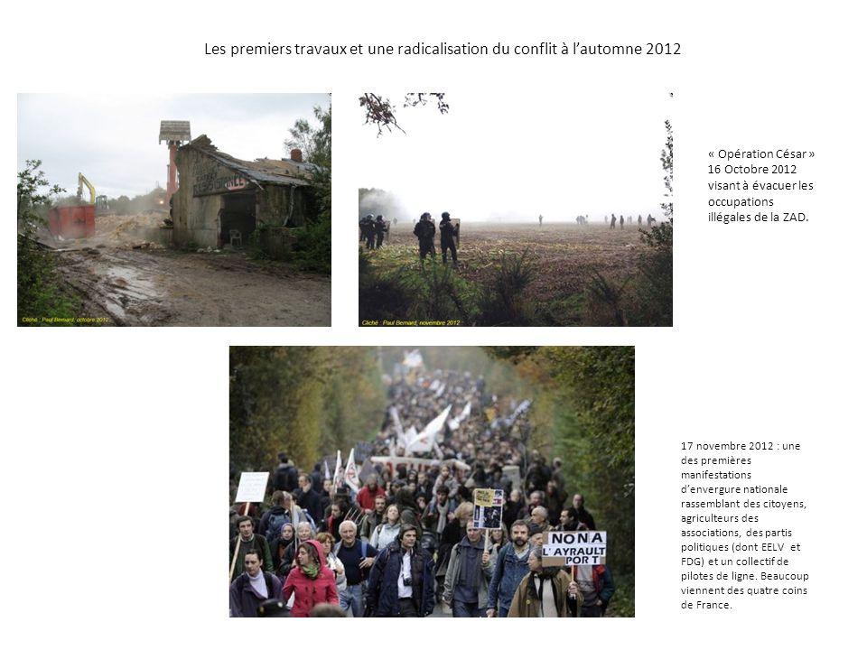 Les premiers travaux et une radicalisation du conflit à l'automne 2012