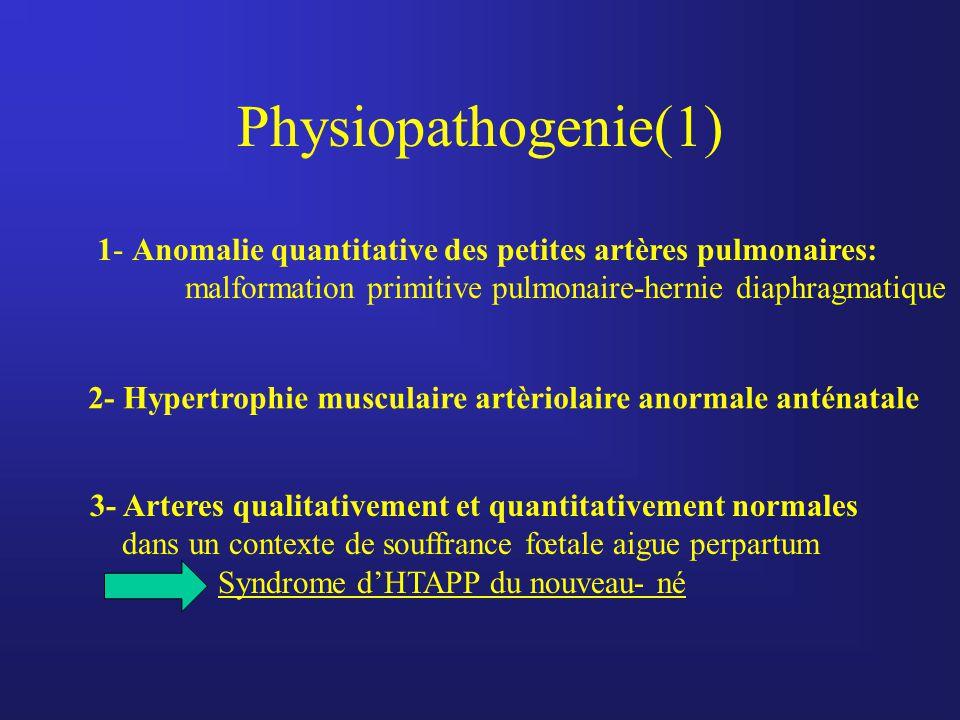 Physiopathogenie(1) 1- Anomalie quantitative des petites artères pulmonaires: malformation primitive pulmonaire-hernie diaphragmatique.