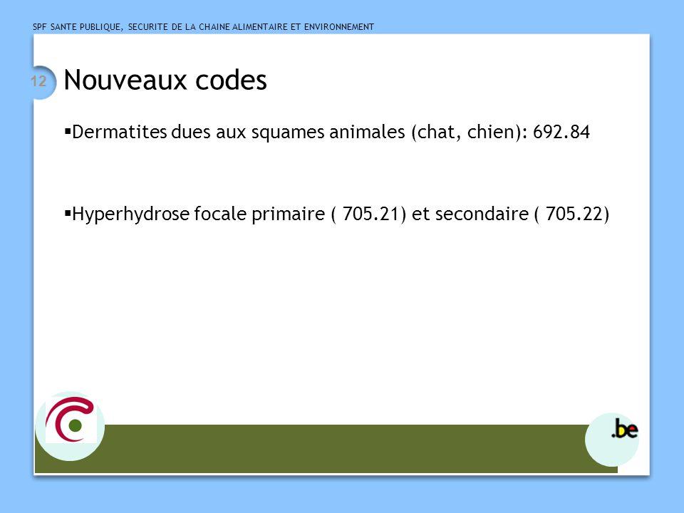 Nouveaux codes Dermatites dues aux squames animales (chat, chien): 692.84.