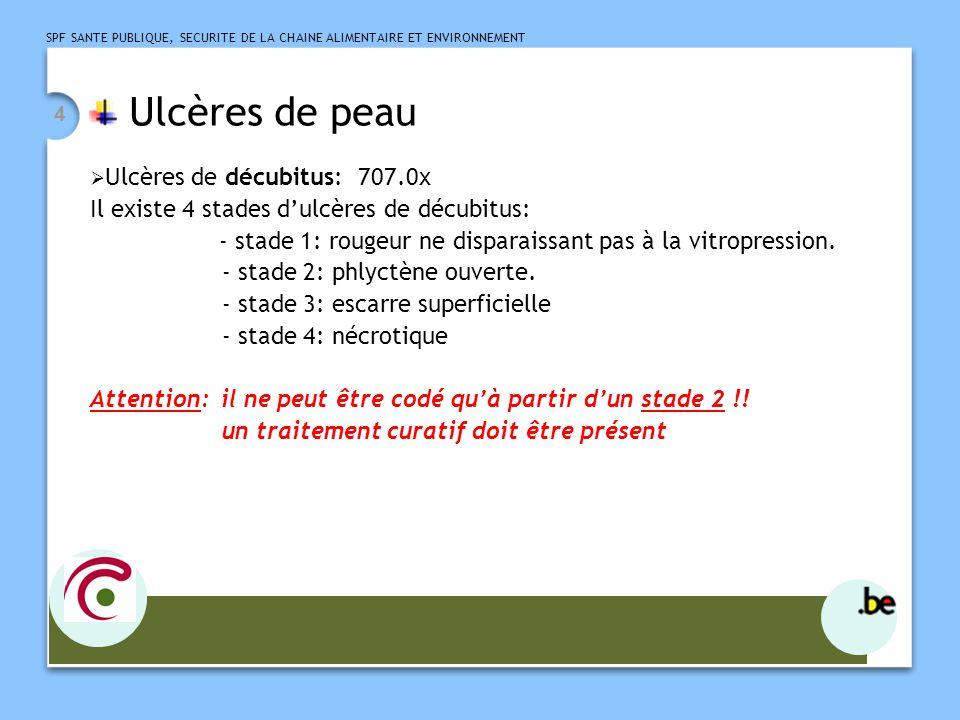 Ulcères de peau Il existe 4 stades d'ulcères de décubitus: