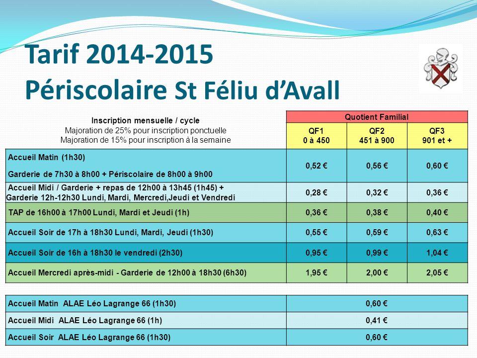 Tarif 2014-2015 Périscolaire St Féliu d'Avall
