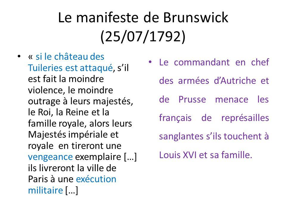 Le manifeste de Brunswick (25/07/1792)