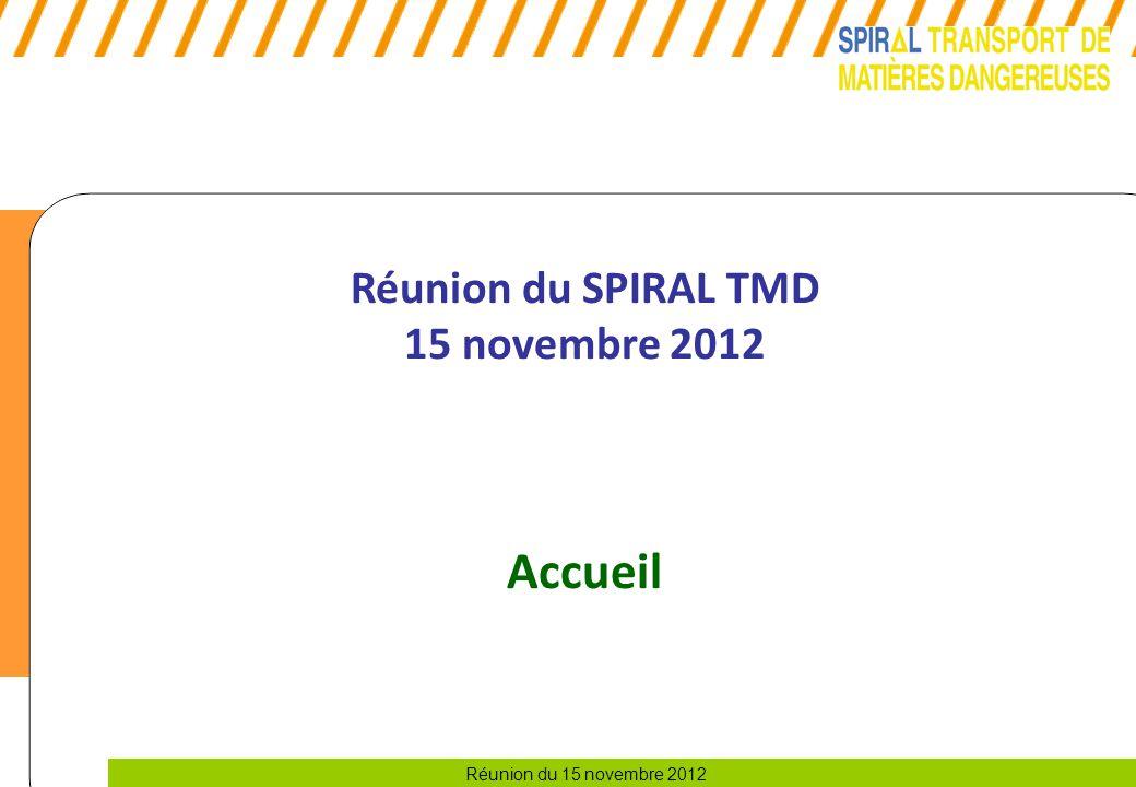 Réunion du SPIRAL TMD 15 novembre 2012 Accueil 1