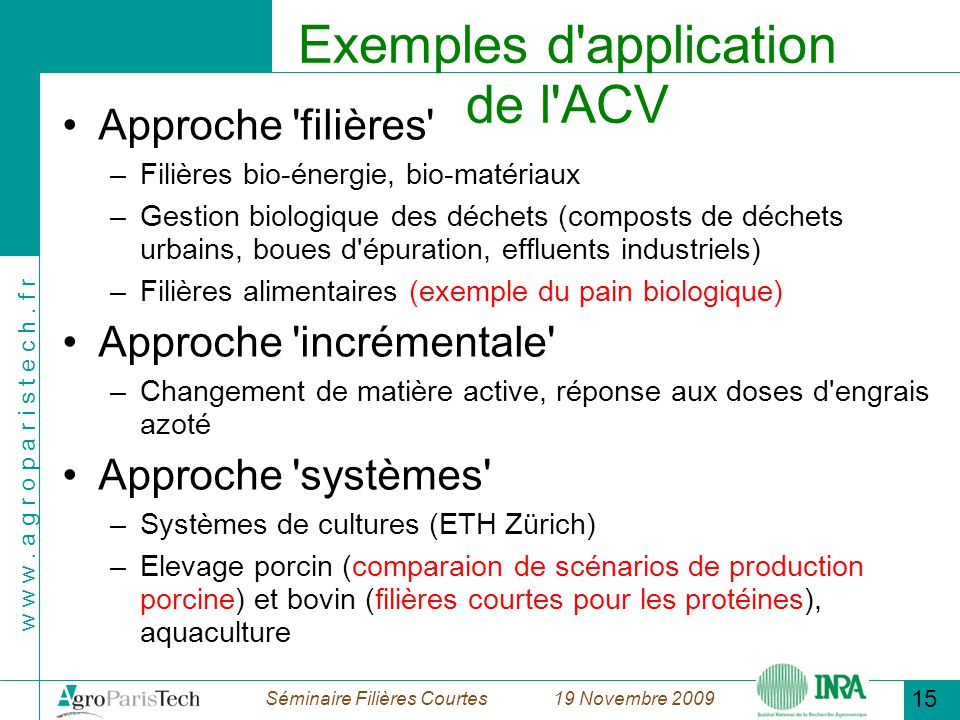 Exemples d application de l ACV