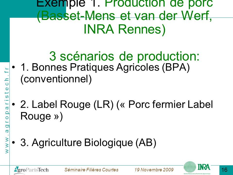 18/11/09 Exemple 1. Production de porc (Basset-Mens et van der Werf, INRA Rennes) 3 scénarios de production: