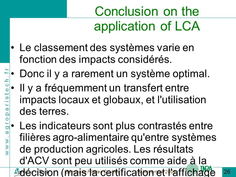 Conclusion on the application of LCA