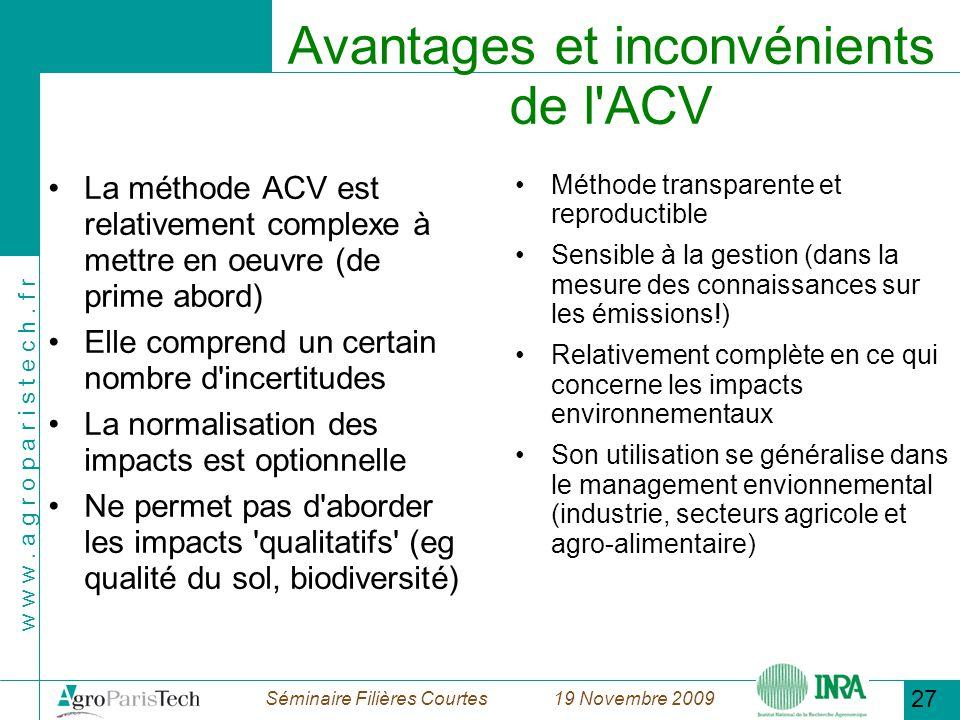 Avantages et inconvénients de l ACV