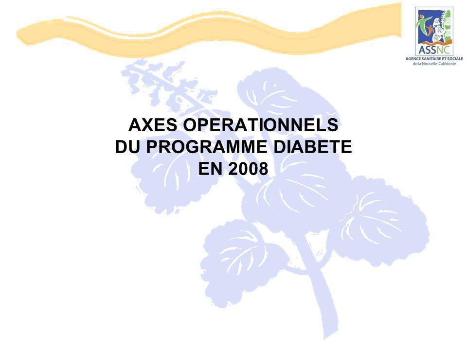 AXES OPERATIONNELS DU PROGRAMME DIABETE EN 2008