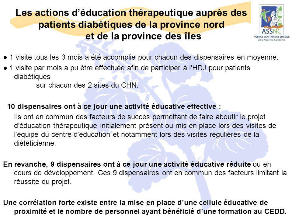 Les actions d'éducation thérapeutique auprès des patients diabétiques de la province nord et de la province des îles