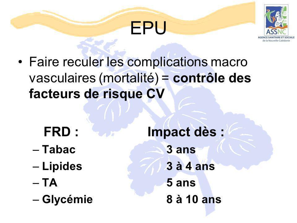 EPU Faire reculer les complications macro vasculaires (mortalité) = contrôle des facteurs de risque CV.