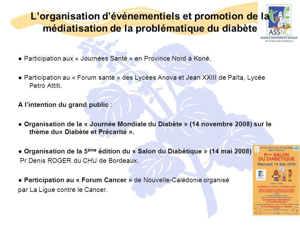 L'organisation d'événementiels et promotion de la médiatisation de la problématique du diabète