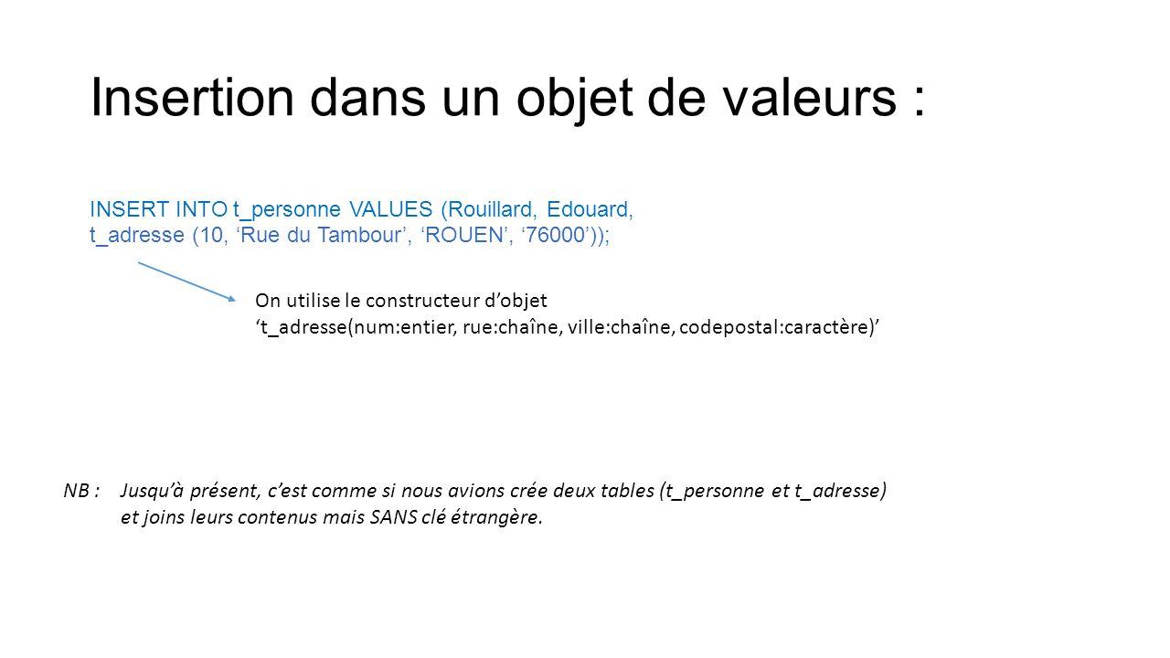 Insertion dans un objet de valeurs :