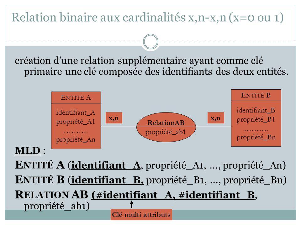 Relation binaire aux cardinalités x,n-x,n (x=0 ou 1)