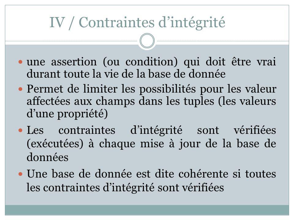 IV / Contraintes d'intégrité