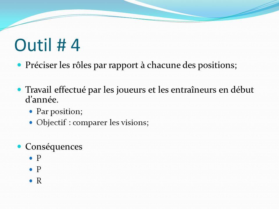Outil # 4 Préciser les rôles par rapport à chacune des positions;