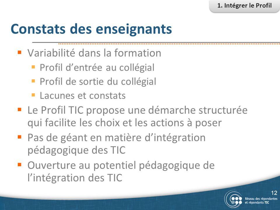 Constats des enseignants