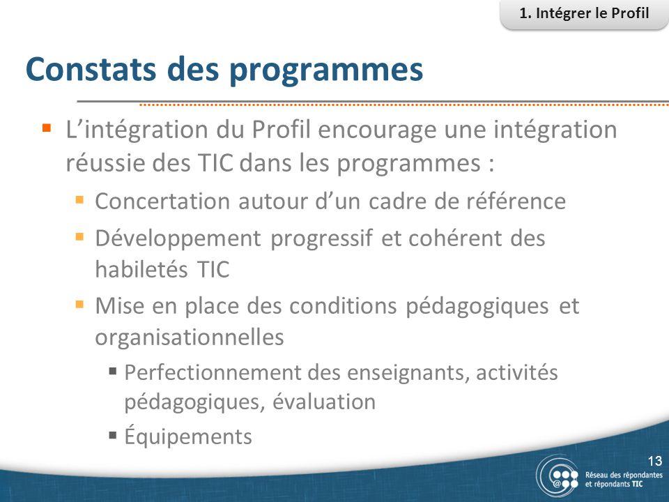 Constats des programmes
