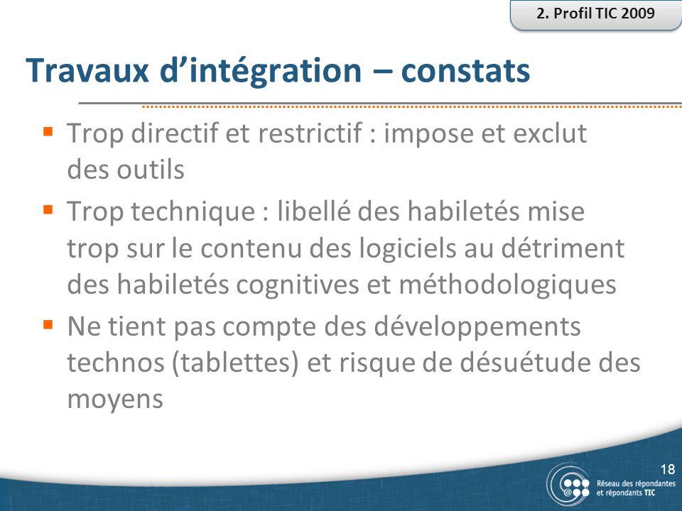 Travaux d'intégration – constats