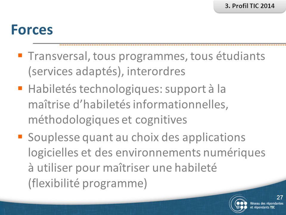 3. Profil TIC 2014 Forces. Transversal, tous programmes, tous étudiants (services adaptés), interordres.