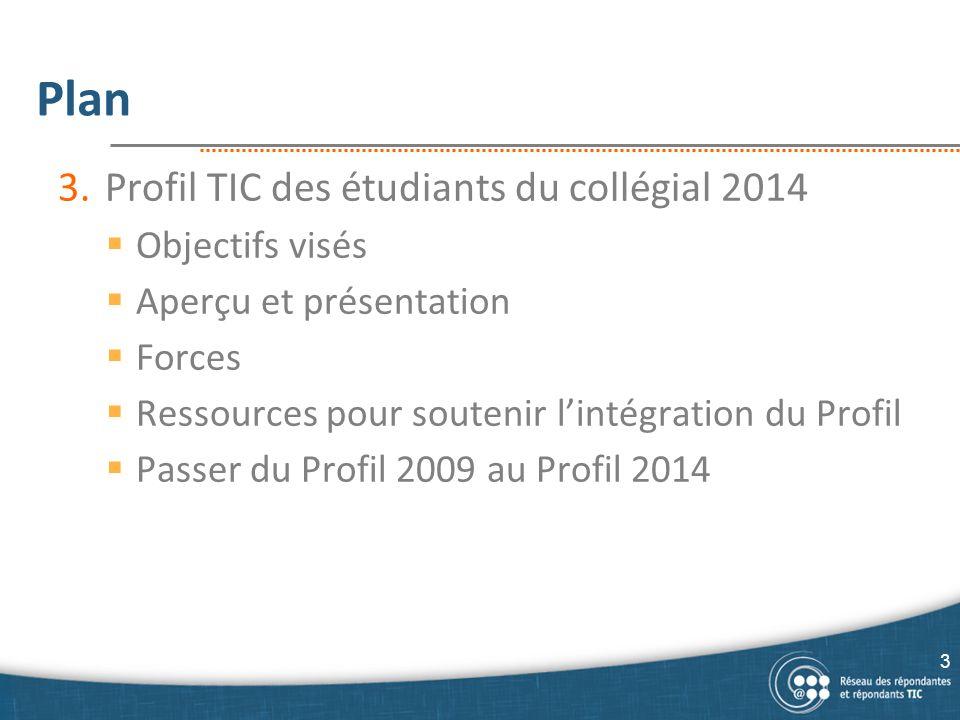 Plan Profil TIC des étudiants du collégial 2014 Objectifs visés
