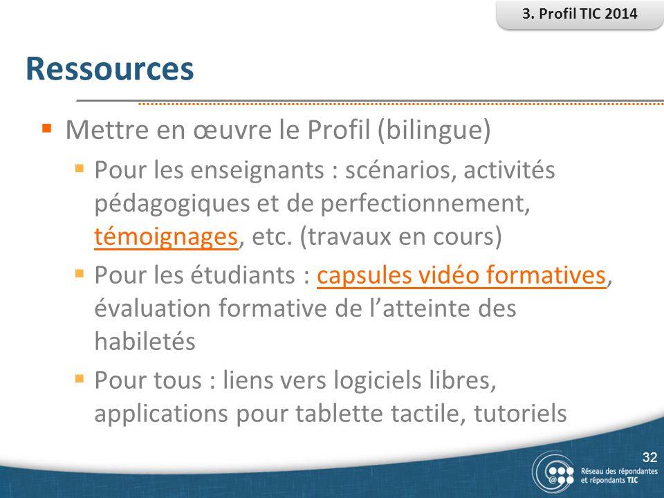 Ressources Mettre en œuvre le Profil (bilingue)