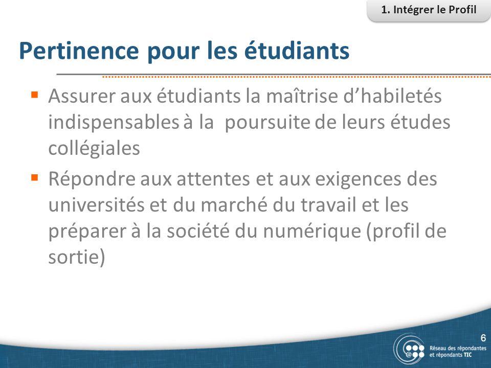 Pertinence pour les étudiants