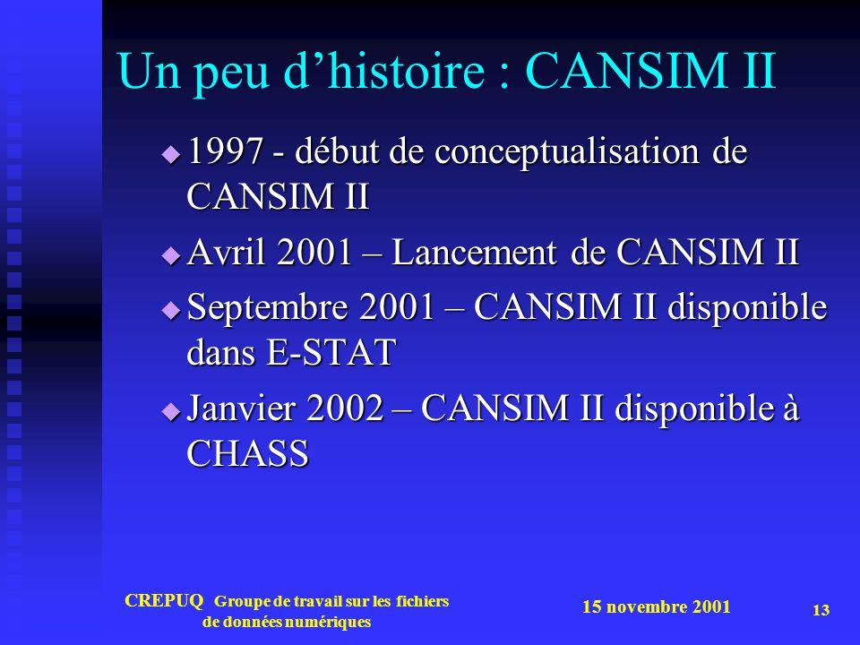 Un peu d'histoire : CANSIM II
