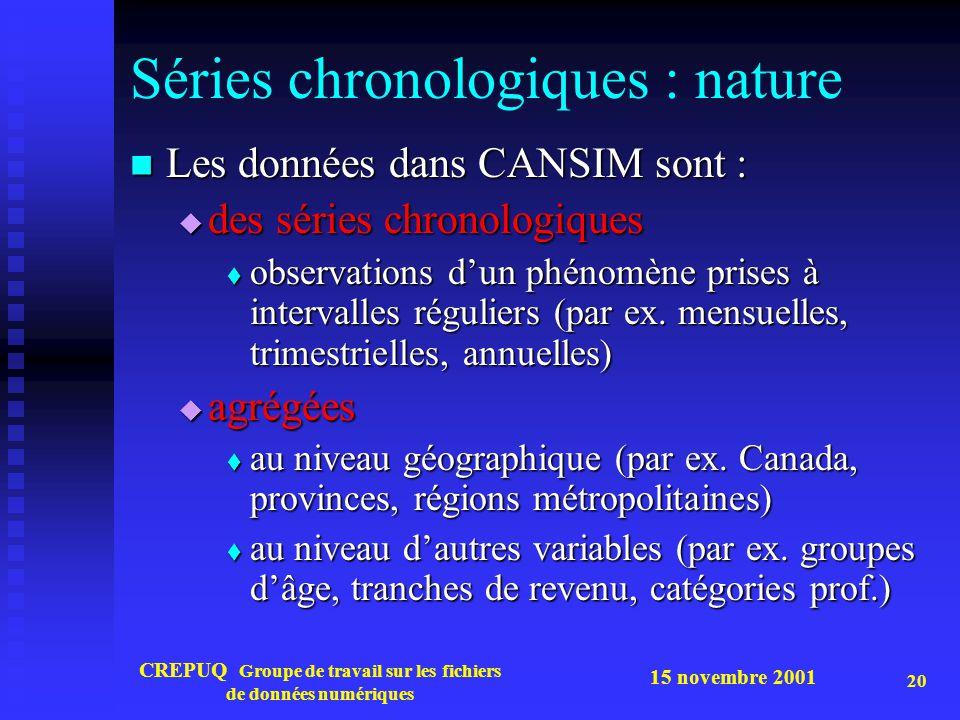 Séries chronologiques : nature