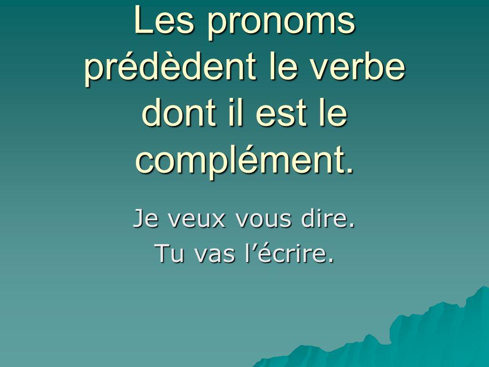 Les pronoms prédèdent le verbe dont il est le complément.