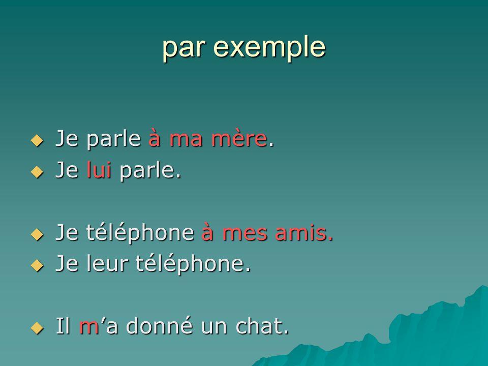 par exemple Je parle à ma mère. Je lui parle. Je téléphone à mes amis.