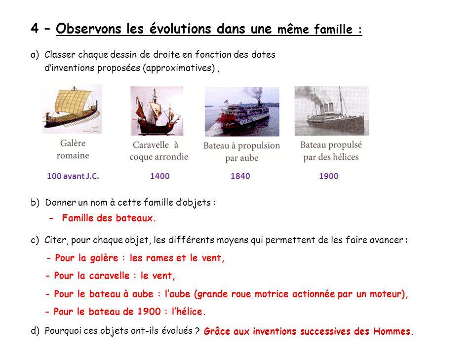 4 – Observons les évolutions dans une même famille :